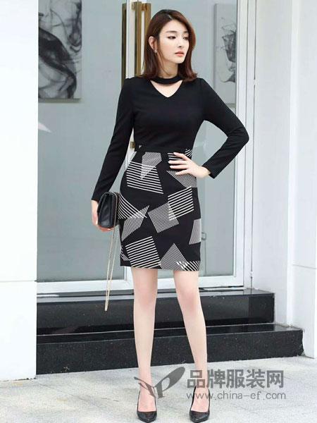 爱为 AIWEI女装2018秋季优雅女人味青春修身几何图形连衣裙