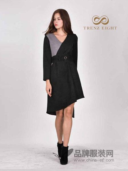 TRENZ EIGHT女装2018秋冬新款韩版时尚复古不规则短裙个性两件套装潮
