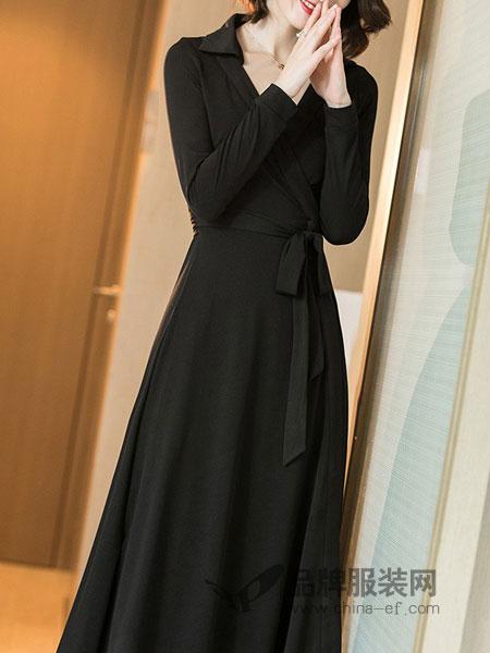 她之曲女装2018秋冬新款气质通勤V领连衣裙修身显瘦长裙一片式针织