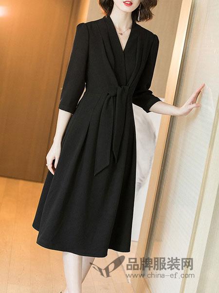 她之曲女装2018秋冬修身显瘦系带七分袖长款小黑裙连衣裙