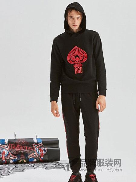 blackgateone男装2018秋冬青年时尚针织衫立体绣花连帽休闲衫