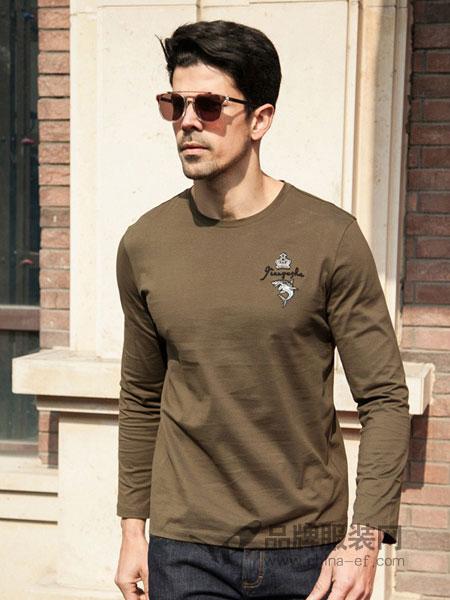 箭鱼鲨男装2018春夏薄款时尚圆领纯棉修身款长袖T恤衫