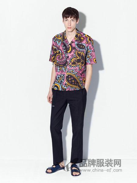 登喜路男装2018春夏露营领佩斯利印花棉质帆布衬衫