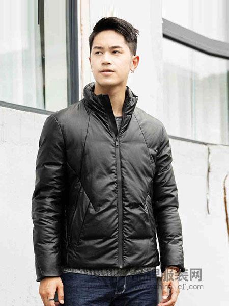 翡翠男装2018秋冬薄款立领修身轻型短款皮质羽绒服保暖运动外套