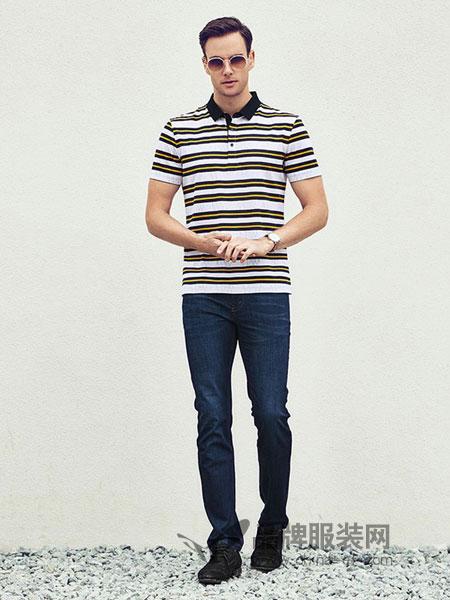 古士旗男装2018春夏纯棉时尚青年翻领短袖T恤夏季体恤衫