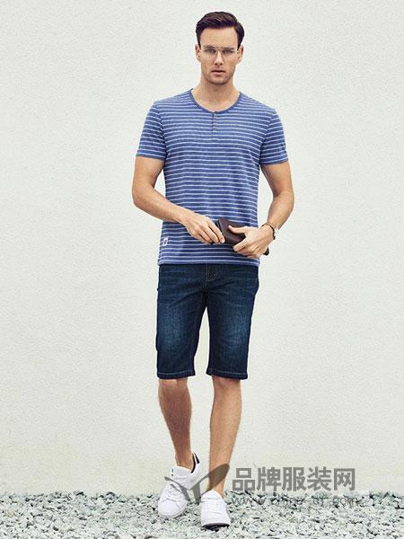 古士旗男装2018春夏新款圆领修身印花条纹成熟休闲男士短袖T恤衫