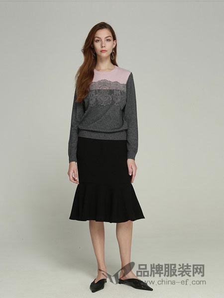 卡邦尼女装2018秋冬蕾丝毛针织衫套头衫