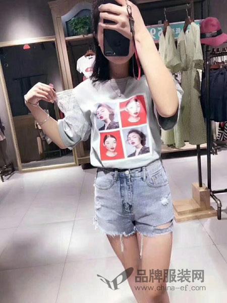 C&M女装2018春夏蕾丝人物图案短袖