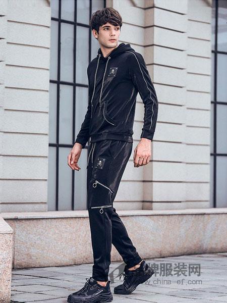 凡转男装2018秋冬韩版潮流修身套头帽衫个性秋季运动休闲装