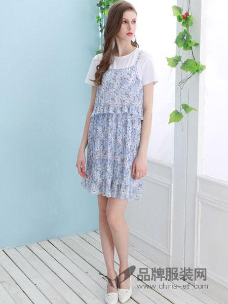 昕薇女装2018秋冬小清新显瘦雪纺中长款连衣裙