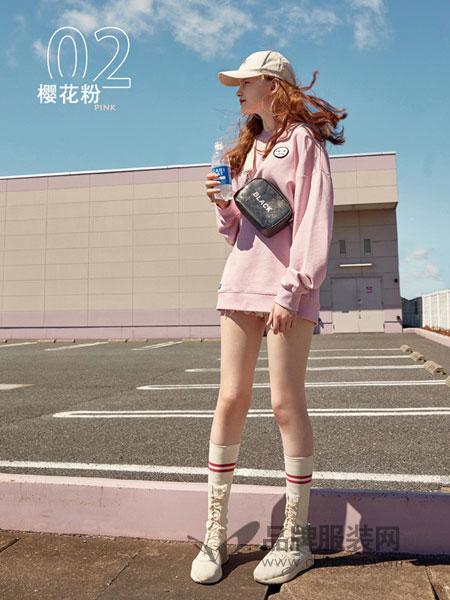 乐町女装2018秋冬慵懒风连帽卫衣薄款秋季上衣