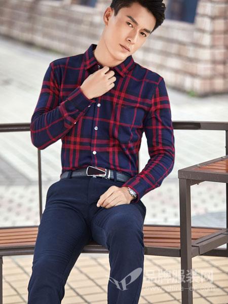 添多利男装2018秋冬原宿格子长袖衬衫
