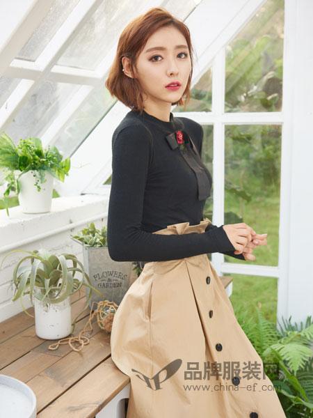 伽戈女装2018秋冬修身显瘦打底衫气质百搭基础款简约纯色套头毛衫