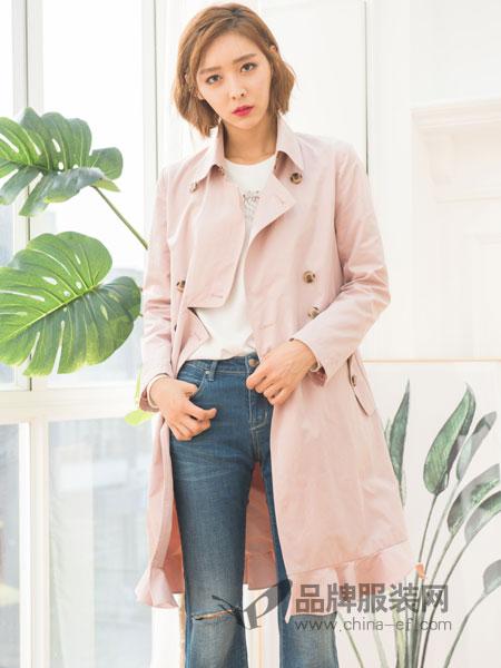 伽戈女装2018秋冬气质修身纯色百搭中长款女风衣外套