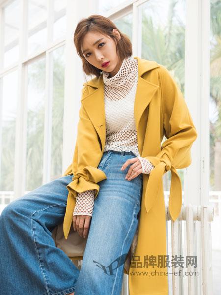 伽戈女装2018秋冬新品韩版宽松休闲风衣女中长款长袖