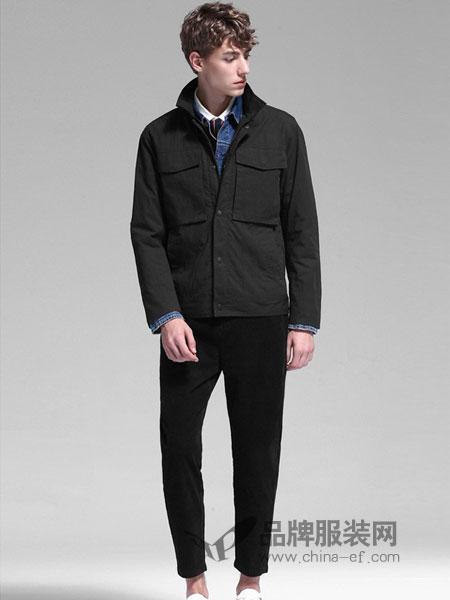 空间男装2018秋冬夹克修身翻领外套青年潮流黑色男夹克衫