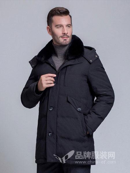 啄木鸟男装2018秋冬保暖连帽外套男中老年爸爸装羽绒衣