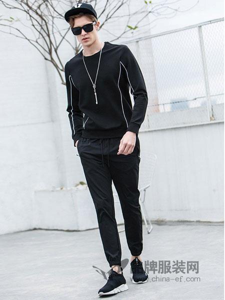 V.SHOLIDAY男装2018春夏潮流韩版刺绣男装休闲两件套卫衣