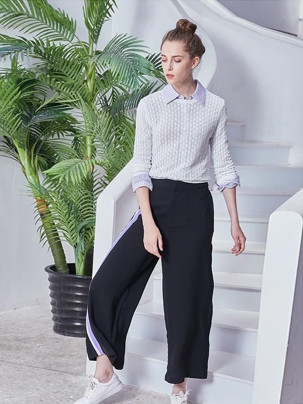萨达纳女装2018秋冬蕾丝有领套头衫
