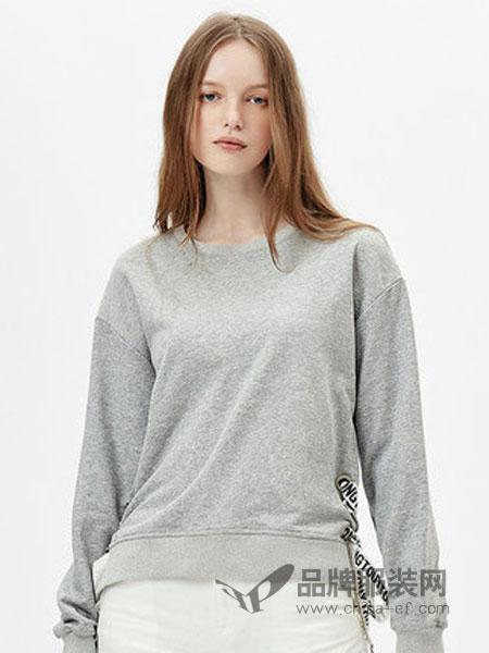 自由鸟女装2018秋冬绑带纯色长袖