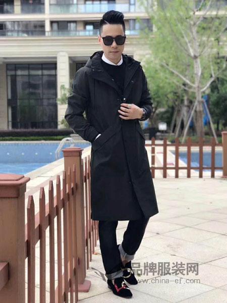 独外男装2018秋冬复古中式盘扣加厚棉袄中长款棉服外套