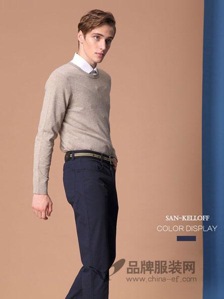 SK(SAN-KELLOFF圣加诺夫)男装2018秋冬羊绒衫男装圆领套头纯山羊绒毛衣