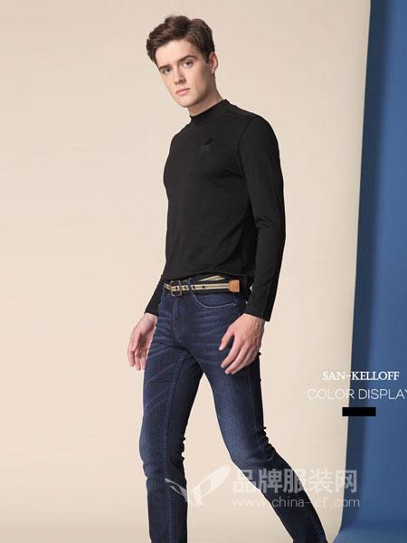 SK(SAN-KELLOFF圣加诺夫)男装2018秋冬休闲上衣纯色立领微弹长袖T恤男