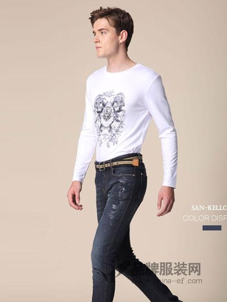 SK(SAN-KELLOFF圣加诺夫)男装2018秋冬刺绣时尚图案体恤修身个性男上衣潮韩版