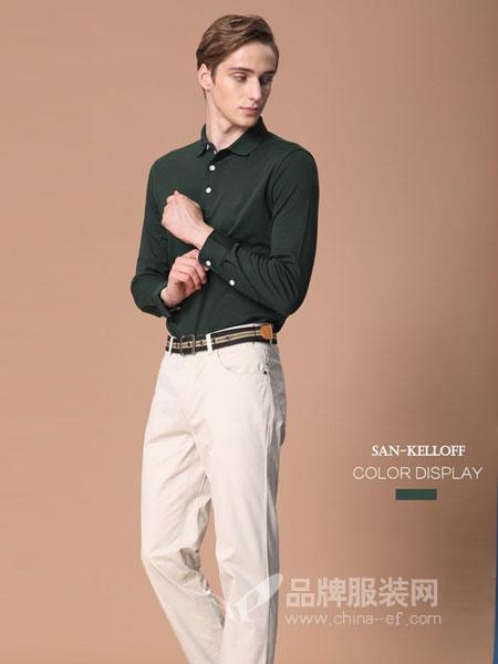 SK(SAN-KELLOFF圣加诺夫)男装2018秋冬长袖t恤翻领网格上衣商务休闲纯棉T恤