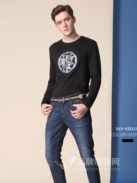 SK(SAN-KELLOFF圣加诺夫)男装2018秋冬上衣新款男士男性上装印花潮流体恤