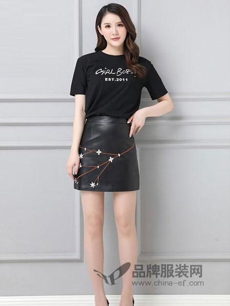 画里画外女装2018秋冬印花日文字母短袖中长款T恤