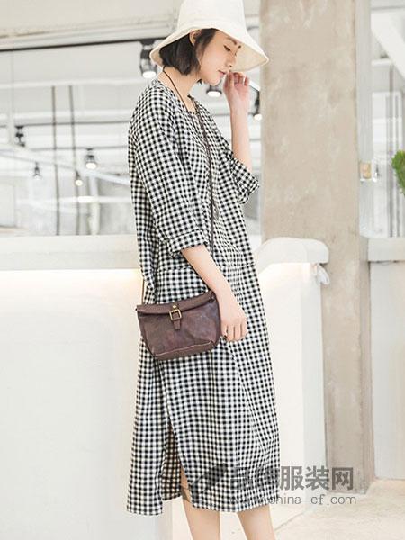 子陌女装2018春夏新款韩版气质收腰显瘦连帽衬衫长裙