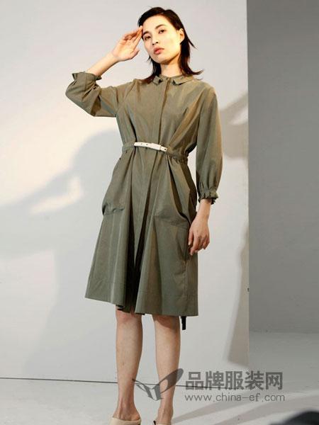 艾罗利女装2018春夏新款中长款纯色九分袖通勤休闲风衣