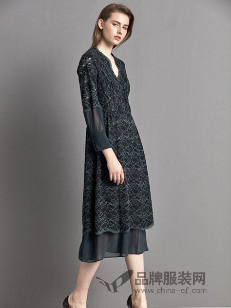 艾罗利女装2018春夏新款长袖优雅长款连衣裙蕾丝拼接长裙