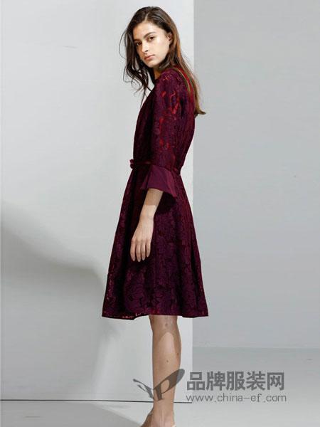 艾罗利女装2018春夏新款蕾丝拼接中长款修身连衣裙