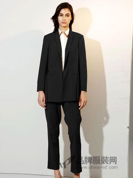 艾罗利女装2018春夏新款单粒扣翻领黑色