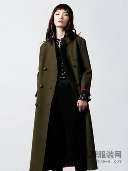 天纳吉儿女装2018秋冬欧美中长款外套毛呢大衣