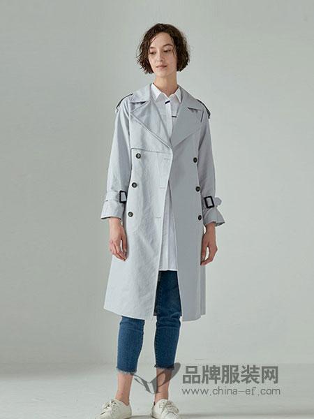奥莱女装2018秋冬新款双排扣翻领收腰中长款风衣外套修身