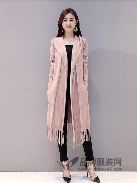 丝柏舍女装2018秋冬纯色显瘦流苏针织衫时尚披肩外套