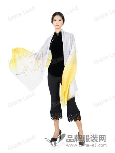 Grace Land女装2018春夏烘炉观梅手绘披肩