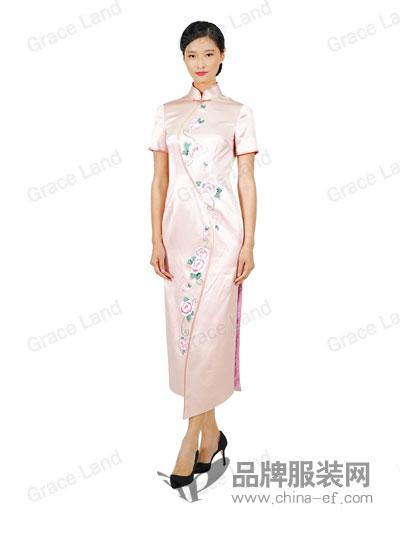 Grace Land女装舜英如妍工艺真丝旗袍