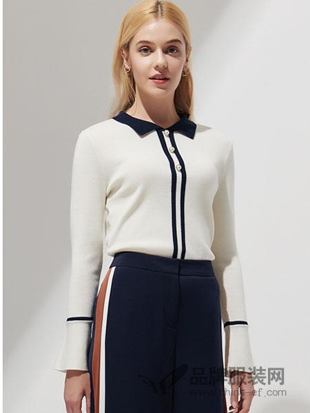 SCOFIELD女装2018秋冬通勤风方领喇叭袖针织衫