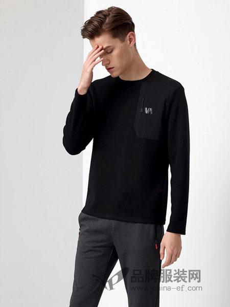 华斯度男装2018秋冬舒适宽松运动长袖T恤