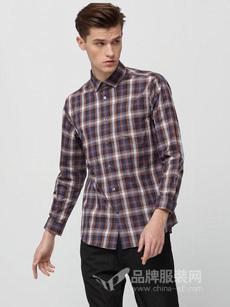 华斯度男装2018秋冬商务休闲双层色织格双面衬衣长袖衬衫