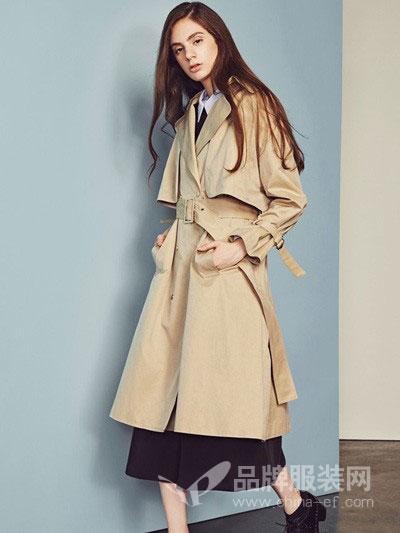 shi.y - 时语女装2018秋冬修身中长款双排扣风衣卡其