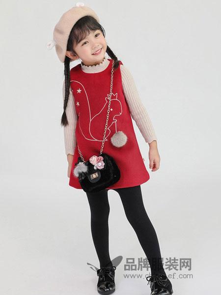 恩恩熊童装2018秋冬圣诞系列韩国可爱麋鹿羊毛呢背心裙