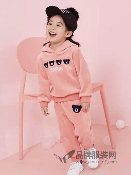 贝布熊童装2018秋冬金丝绒运动休闲时髦两件套装