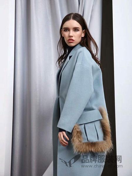 MIEGOAL麦谷风女装2018秋冬中长款毛呢大衣