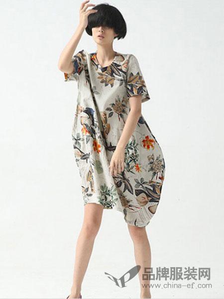 巴古利女装宽松文艺连衣裙