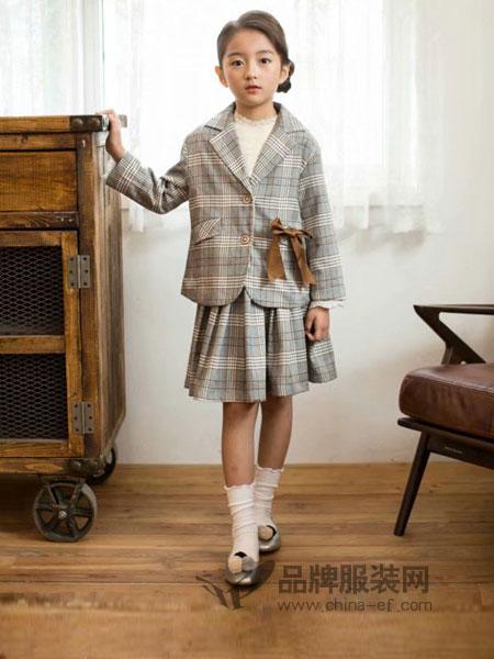 酷小孩童装2018秋冬女童学院风格子套装中大童套装